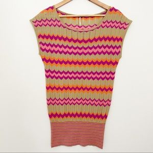 FREE PEOPLE Pink Orange Chevron Sleeveless Sweater